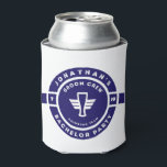"Navy Blue Beer Badge Bachelor Party Branding Can Cooler<br><div class=""desc"">Navy Blue Beer Badge Bachelor Party Branding with grooms name and party month and year date.</div>"