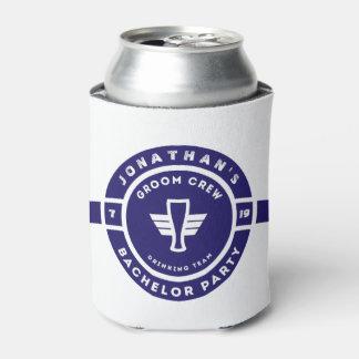 Navy Blue Beer Badge Bachelor Party Branding Can Cooler
