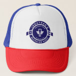"Navy Blue Beer Badge Bachelor Party Branding Trucker Hat<br><div class=""desc"">Navy Blue Beer Badge Bachelor Party Branding with grooms name and party month and year date.</div>"
