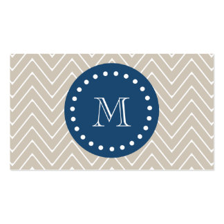 Navy Blue, Beige Chevron Pattern | Your Monogram Business Card Templates