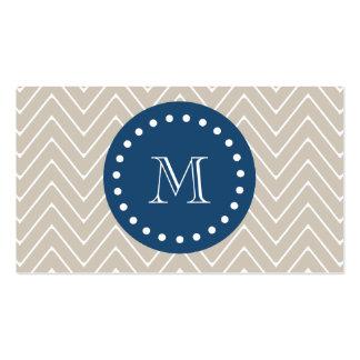 Navy Blue, Beige Chevron Pattern | Your Monogram Business Card Templates