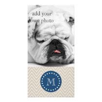 Navy Blue, Beige Chevron Pattern | Your Monogram Card
