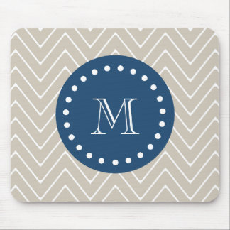 Navy Blue, Beige Chevron Pattern   Your Monogram Mouse Pad