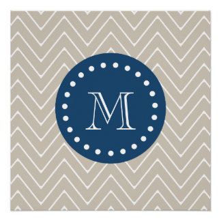 Navy Blue, Beige Chevron Pattern | Your Monogram Perfect Poster
