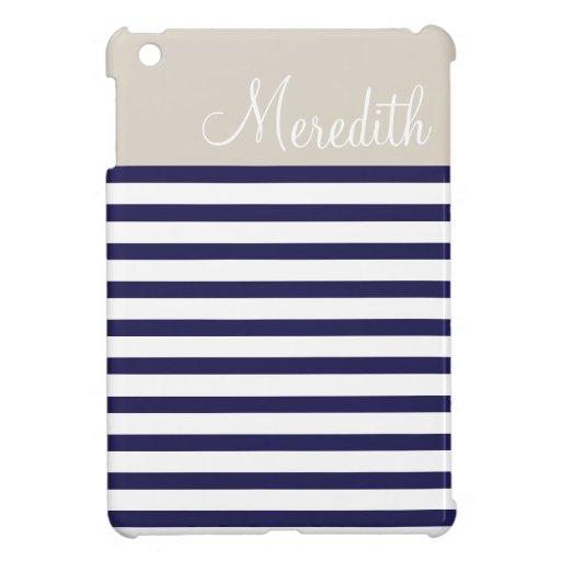 Navy Blue & Beige Preppy Stripes Custom Monogram Cover For The iPad Mini