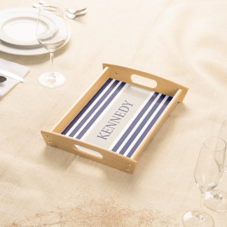 Navy Blue Beige Stripes & Monogram Serving Tray