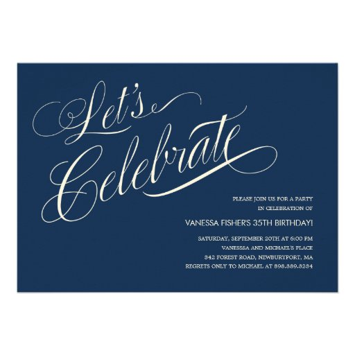 Navy Blue Birthday Invitations For Adults