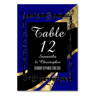 Navy blue, black and gold personalized number card