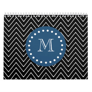 Navy Blue Black and White Chevron Pattern Your Calendars