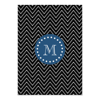 Navy Blue, Black and White Chevron Pattern   Your Card