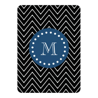 "Navy Blue, Black and White Chevron Pattern | Your 4.5"" X 6.25"" Invitation Card"