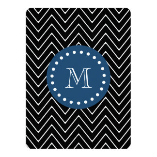 Navy Blue, Black and White Chevron Pattern | Your 6.5x8.75 Paper Invitation Card
