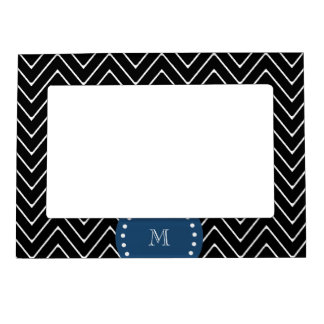 Navy Blue, Black and White Chevron Pattern   Your Magnetic Frame