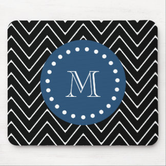 Navy Blue, Black and White Chevron Pattern   Your Mouse Pad