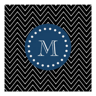 Navy Blue, Black and White Chevron Pattern | Your Perfect Poster