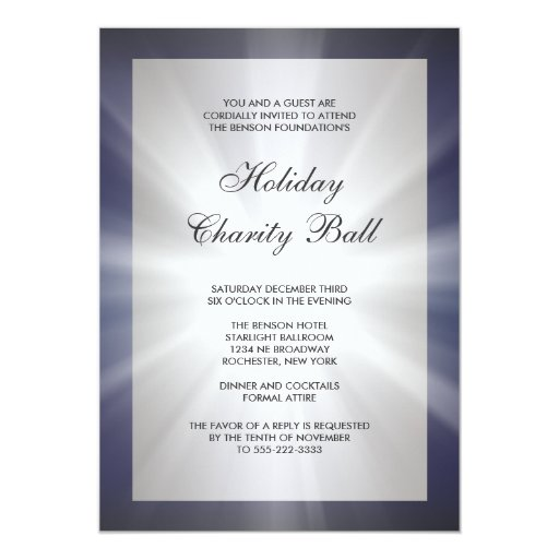 "Navy Blue Black Corporate Event Party Invitations 5"" X 7"" Invitation Card"