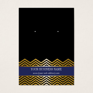 Navy Blue Black Gold Chevron Custom Earring Card