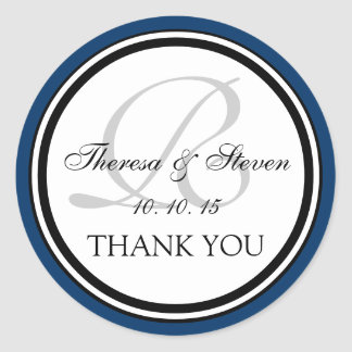 Navy Blue Black Monogram R Wedding Thank You Classic Round Sticker