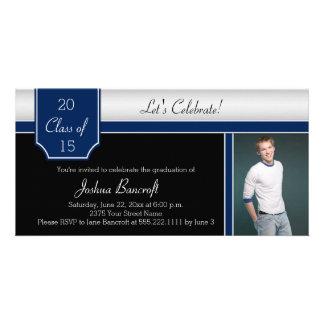 Navy Blue Black Silver Photo Graduation Party Card
