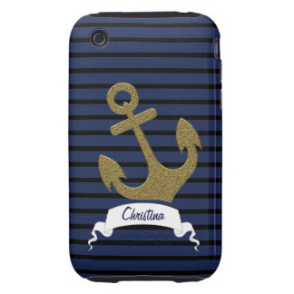 Navy Blue Black Stripes Gold Anchor Ribbon Name iPhone 3 Tough Cases
