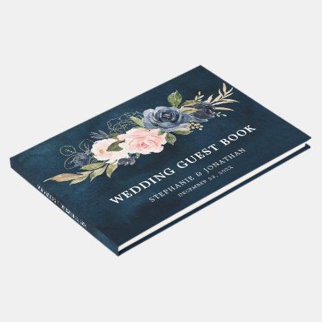Navy Blue Blue Blush Pink Rose Botanical Guest Book