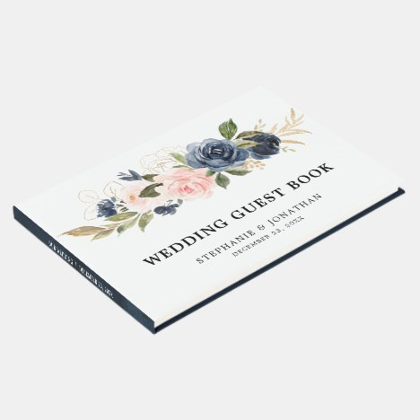 Navy Blue Blue Blush Pink Rose Botanical Guest Book