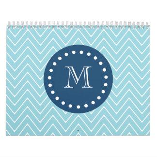 Navy Blue, Blue Chevron Pattern | Your Monogram Calendar
