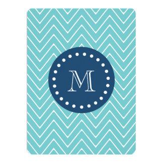 Navy Blue, Blue Chevron Pattern   Your Monogram Card