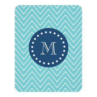 Navy Blue, Blue Chevron Pattern | Your Monogram 4.25x5.5 Paper Invitation Card