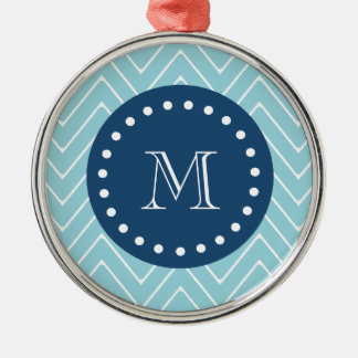 Navy Blue, Blue Chevron Pattern | Your Monogram Christmas Ornaments