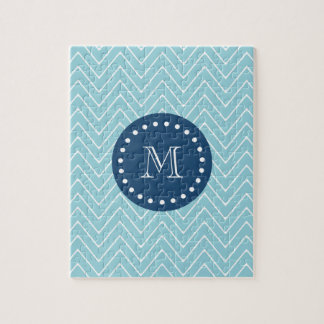 Navy Blue, Blue Chevron Pattern | Your Monogram Jigsaw Puzzles