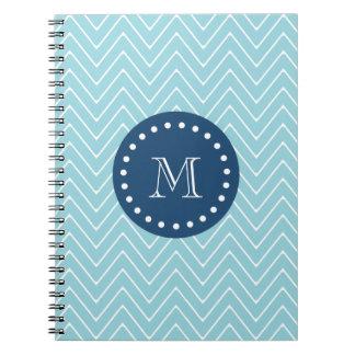 Navy Blue, Blue Chevron Pattern | Your Monogram Spiral Notebook