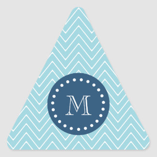Navy Blue, Blue Chevron Pattern   Your Monogram Triangle Sticker