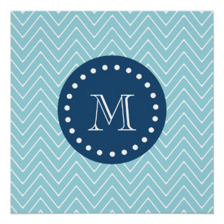 Navy Blue, Blue Chevron Pattern | Your Monogram Perfect Poster
