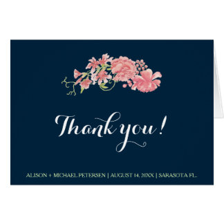 Navy blue blush peonies wedding editable thank you card