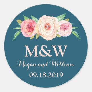 Navy Blue Blush Pink Floral Monogram Wedding Classic Round Sticker