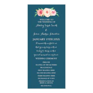 Navy Blue Blush Pink Floral Wedding Program