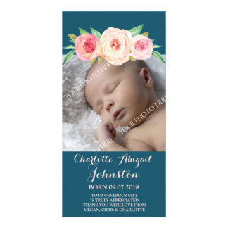 Navy Blue Blush Pink Flowers Thank You Baby Shower Card