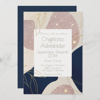 Navy Blue & Blush Pink Glitter Abstract with Gold  Invitation