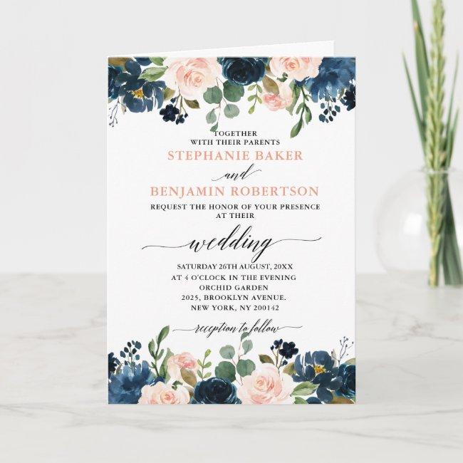 Navy Blue Blush Pink Rose Boho All in one Wedding Invitation