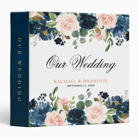 Navy Blue Blush Pink Rose Boho Wedding 3 Ring Binder