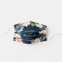 Navy Blue Blush Pink Rose Boho wedding Cloth Face Mask