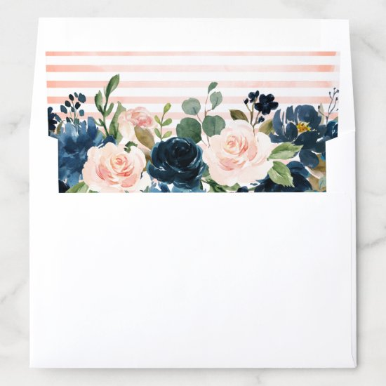 Navy Blue Blush Pink Rose Boho Wedding Envelope Liner