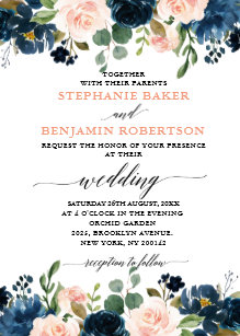 Navy And Blush Wedding.Navy And Blush Wedding Invitations Zazzle