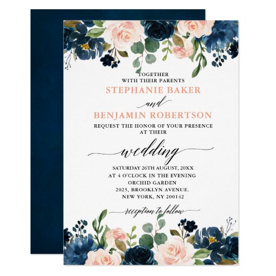 Navy And Blush Wedding.Navy Blue Blush Pink Rose Boho Wedding Invitation