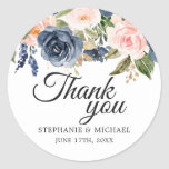 "Navy Blue Blush Pink Rose Botanical Thank You Classic Round Sticker<br><div class=""desc"">Beautiful floral botanical wedding thank you sticker features hand-painted watercolor floral graphics / roses in rich tones of navy blue and blush pink / peach and charming hand lettering style font. Please contact me for any help in customization or if you need any other product with this design.</div>"