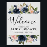 "Navy Blue Blush Pink Rose Bridal Shower Welcome Poster<br><div class=""desc"">Beautiful floral boho  Bridal shower welcome poster features hand-painted watercolor floral graphics / roses in rich tones of navy blue and blush pink / peach and charming hand lettering style font. Please contact me for any help in customization or if you need any other product with this design.</div>"