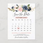 """Navy Blue Blush Pink Rose Calendar Save the Date Announcement Postcard<br><div class=""""desc"""">Please click on """"Click to customize further"""" link to move the heart to the date you need. Please contact me for any help in customization. Beautiful floral boho wedding save the date calendar card features hand-painted watercolor floral graphics / roses in rich tones of navy blue and blush pink /...</div>"""