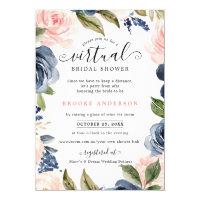 Navy Blue Blush Pink Rose Virtual Bridal Shower Invitation