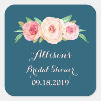 Navy Blue Blush PinkFloral Bridal Shower Favor Tag